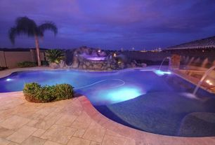 Tropical Swimming Pool with Fence, exterior stone floors