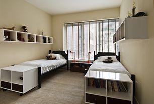 Contemporary Kids Bedroom with Carpet, no bedroom feature, Built-in bookshelf, Casement, Standard height, Paint
