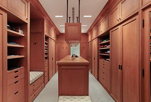 Contemporary Closet with Crown molding, can lights, Built-in bookshelf, Standard height, Carpet, Barn door