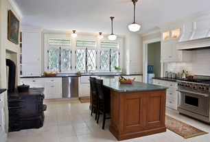 Traditional Kitchen with Rose city 6in classic schoolhouse pendant, Farmhouse sink, U-shaped, Complex granite counters