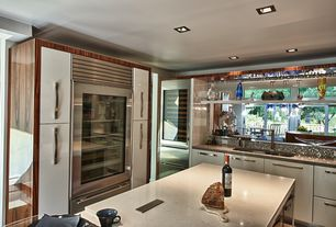 Contemporary Kitchen with Kitchen island, Ceramic Tile, Flush, Quartz counters, Undermount sink, L-shaped, Wine refrigerator