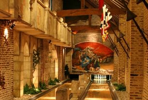 Eclectic Game Room with Laminate floors, Columns, Built-in bookshelf, Cathedral ceiling, Exposed beam