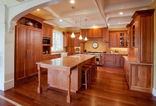 Craftsman Kitchen with Built In Panel Ready Refrigerator, Standard height, gas range, Glass panel, Box ceiling, Raised panel