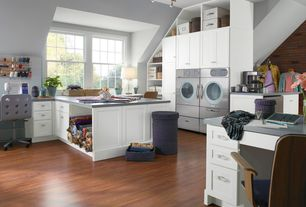 Contemporary Laundry Room with Undermount sink, Built-in bookshelf, laundry sink, Laminate floors, Standard height