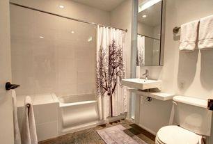 Contemporary Full Bathroom with shower bath combo, tiled wall showerbath, limestone floors, Undermount bathroom sink, Bathtub