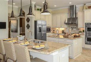 Traditional Kitchen with Breakfast bar, stone tile floors, Wall Hood, Pendant light, limestone tile floors, Flush, can lights