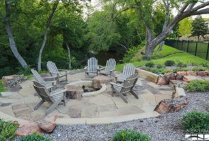 Rustic Patio with exterior stone floors, Fire pit, Fence
