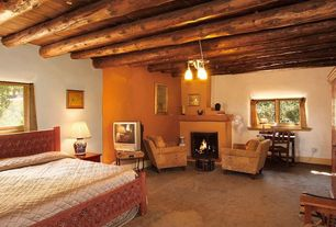 Eclectic Guest Bedroom with sandstone floors, High ceiling, flush light, Exposed beam, Cement fireplace