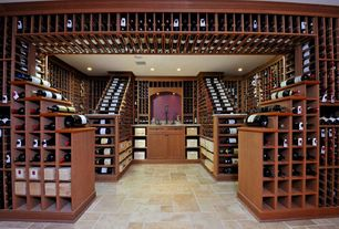 Traditional Wine Cellar with Crown molding, limestone tile floors