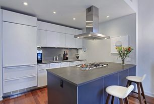 Contemporary Kitchen with Kitchen peninsula, Flush, Simple Marble, One-wall, Simple granite counters, European Cabinets