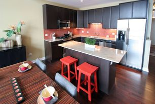 Contemporary Kitchen with L-shaped, Kitchen island, Ceramic Tile, Flush, Simple granite counters, European Cabinets