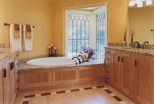 Craftsman Master Bathroom with Complex granite counters, stone tile floors, Emser, Complex Granite, Flush, Standard height