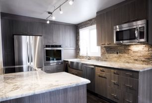 Contemporary Kitchen with Complex granite counters, electric cooktop, Multiple Refrigerators, Flush, dishwasher, L-shaped