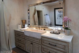 Eclectic Powder Room with Raised panel, Pendant light, Natural rough sandstone sink, Powder room, terracotta tile floors