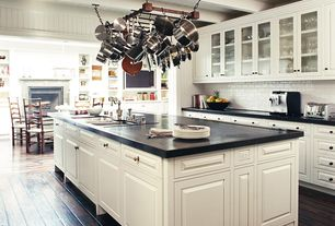 Cottage Kitchen with Glass panel, Exposed beam, Inset cabinets, Mazama Hardwood - Handscraped Collection Black Mica, Galley