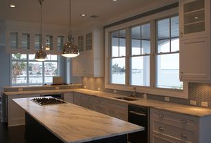 Craftsman Kitchen with Pratt Street Metal 2-light Brushed Nickel Pendant with Glass Diffuser