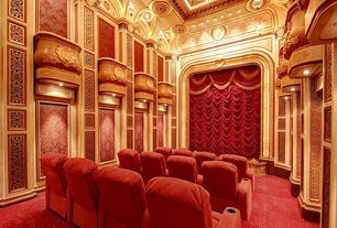 Traditional Home Theater with Carpet, interior wallpaper, High ceiling, flush light