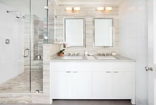 Contemporary Master Bathroom with Master bathroom, frameless showerdoor, Undermount sink, specialty door, Travertine counters