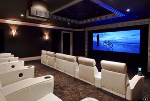 Modern Home Theater with interior wallpaper, Wall sconces lighting, Wall sconce, Coved ceiling, Carpet, Crown molding