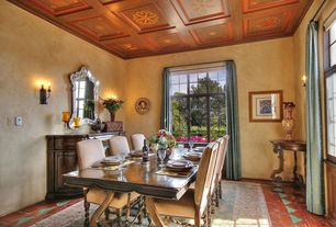 Mediterranean Living Room with Glass panel door, Hooker Furniture Preston Ridge Credenza, Wall sconce, terracotta tile floors