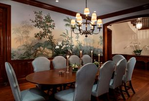 Traditional Dining Room with Mural, Crown molding, Chandelier, Hardwood floors, Wainscotting, Standard height, specialty door
