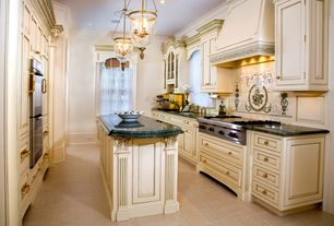 Traditional Kitchen with travertine tile floors, Simple granite counters, Undermount sink, Casement, Large Ceramic Tile