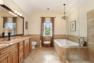 Contemporary Master Bathroom with drop in bathtub, Wall Tiles, double-hung window, Raised panel, full backsplash, Double sink