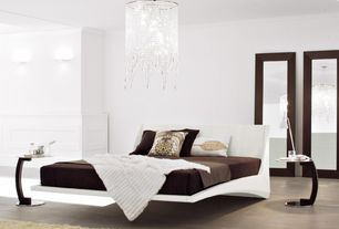 Modern Master Bedroom with Laminate floors, Crown molding, Wall sconce, Chandelier