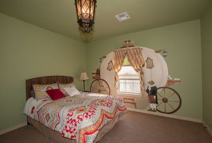 Eclectic Kids Bedroom with flush light, ElanaMar Designs Island Way Seagrass Headboard, Carpet