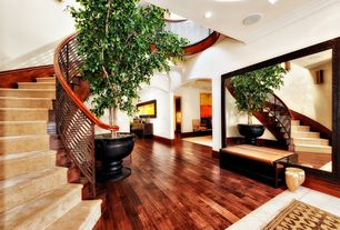 Modern Staircase with curved staircase, Hardwood floors, High ceiling