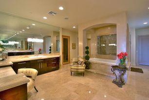 Traditional Full Bathroom with MS International Tuscany Ivory Polished Travertine Tile, Vinyl floors, European Cabinets