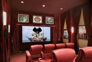 Traditional Home Theater with Carpet, Standard height, can lights, Wall sconce