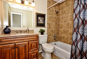 Traditional Full Bathroom with Undermount sink, Simple granite counters, Raised panel, Simple Granite, tiled wall showerbath