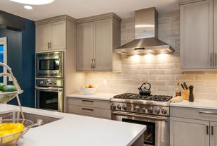 Contemporary Kitchen with Undermount sink, Kitchen island, Flush, UltraCompact Surface Countertop in Zenith, Stone Tile
