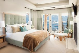Contemporary Guest Bedroom with Bristol Tufted Gray Linen Modern Queen Bed, Carpet, French doors