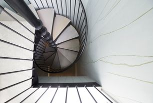 Contemporary Staircase with Spiral staircase, Laminate floors, High ceiling, interior wallpaper