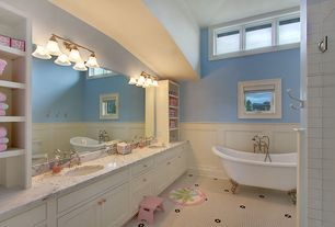 Traditional Kids Bathroom with penny tile floors, Arizona Tile Bianco Venatino Marble, European Cabinets, Kids bathroom