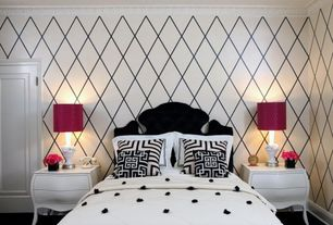 Contemporary Guest Bedroom with six panel door, Crown molding, Standard height, interior wallpaper