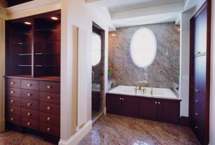 Traditional Master Bathroom with Box ceiling, frameless showerdoor, European Cabinets, Master bathroom, Built-in bookshelf
