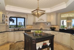 Traditional Kitchen with Ceramic Tile, Granite Solid Surface Countertop in Deep Nocturne, Soapstone counters, U-shaped, Flush