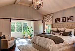 Traditional Master Bedroom with Wainscotting, Restoration hardware - adler tufted fabric platform bed without footboard