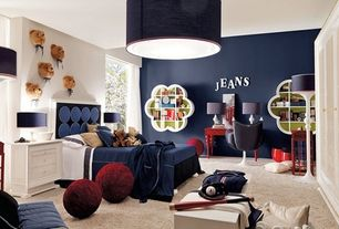 Contemporary Kids Bedroom with Pendant light, Carpet, AltaModa Italia AH600 Baboll, AltaModa Jonny 01, High ceiling