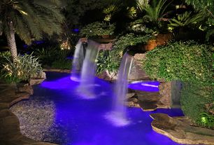 Tropical Swimming Pool with Pool with waterfall, Pool with hot tub, Pool lights, Outdoor pool, Inground pool, Water feature