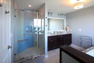Contemporary Master Bathroom with flush light, Double sink, frameless showerdoor, Master bathroom, Complex marble counters
