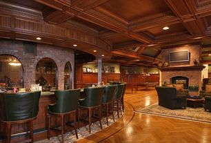 Traditional Wine Cellar with brick fireplace, Columns, Standard height, Brick fireplace surround, flush light, can lights