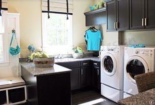 Traditional Laundry Room with Built-in bookshelf, Ms International Desert Brown Granite, Hardwood floors