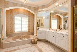 Traditional Master Bathroom with stone tile floors, Bathtub, Limestone, Raised panel, Wall Tiles, Casement, full backsplash