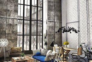 Eclectic Living Room with High ceiling, Hardwood floors, Dear Ingo Chandelier, interior brick