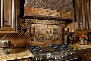 Mediterranean Kitchen with Daltile PYRAMID EG20 Field Tile, Raised panel, Complex granite counters, Glass tile mosaic