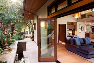 Contemporary Patio with French doors, Transom window